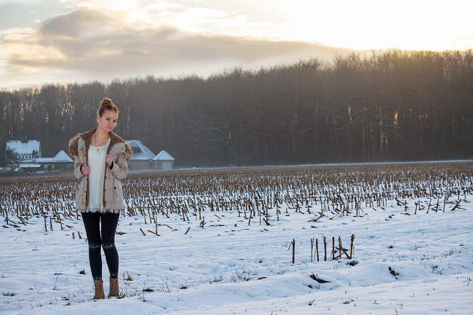 Outfit mit traumhafter Schnee Landschaft