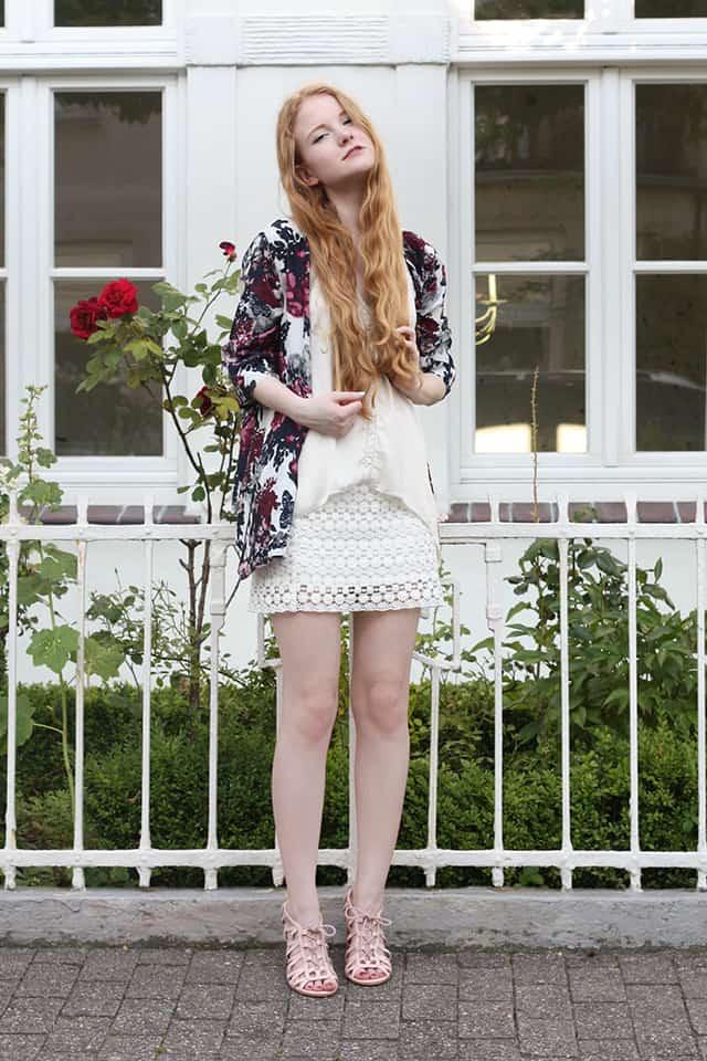 Outfit Sommer 2015 Blumen Kimono Weiß Spitze