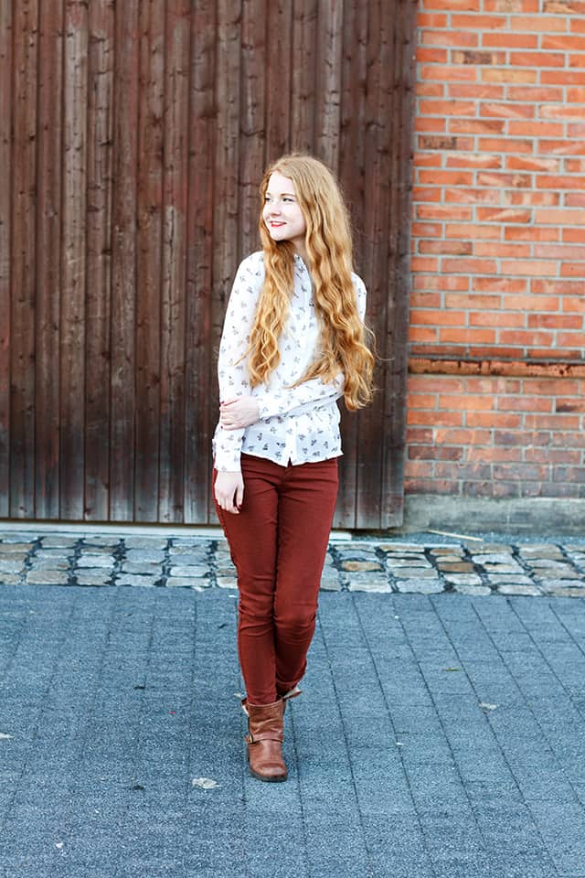 Herbst Outfit 2015 Fuchs Bluse Rostfarbene Jeans Hose Boots