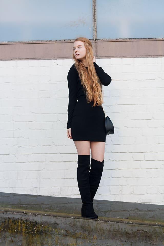 Fashionblog Schwarze Overknees Outfit Drew Lookalike