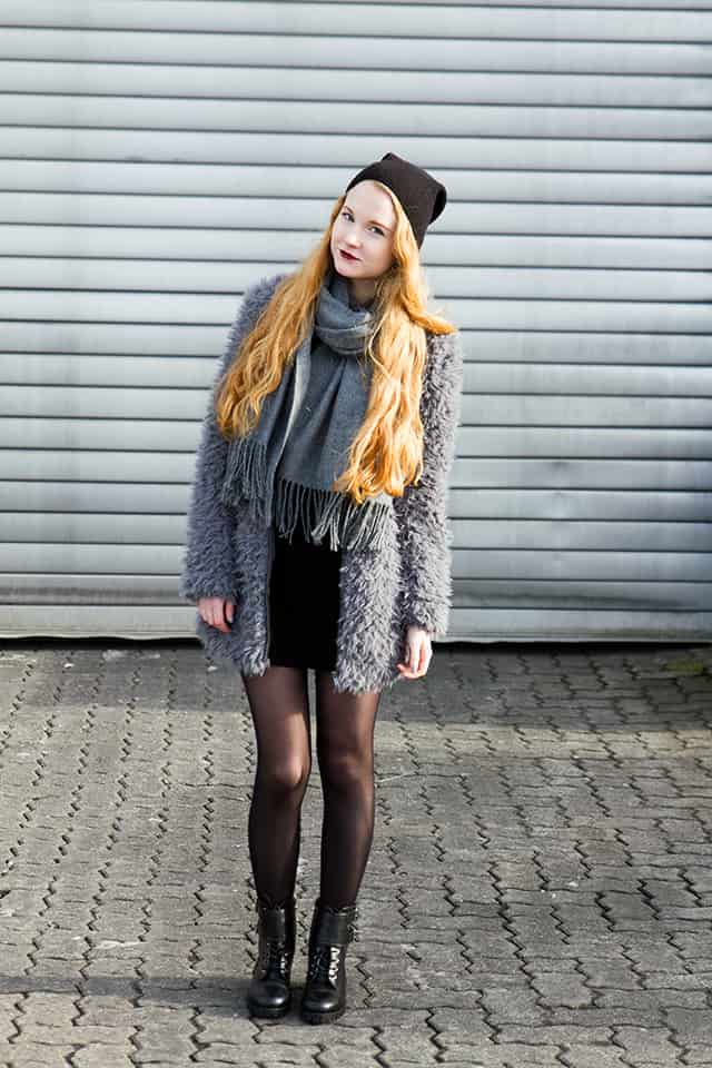 Fake Fur KunstFellmantel kombinieren Grau Schwarz Blogger -1