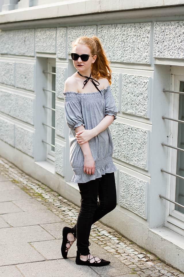 Outfit Monochromer Off Shoulder Look Frühling Modeblog Oldenburg