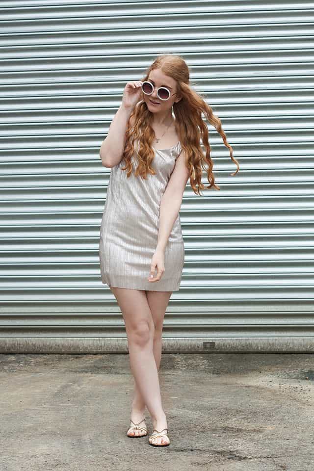 {Outfit} Slip Dress in Silber Metallic