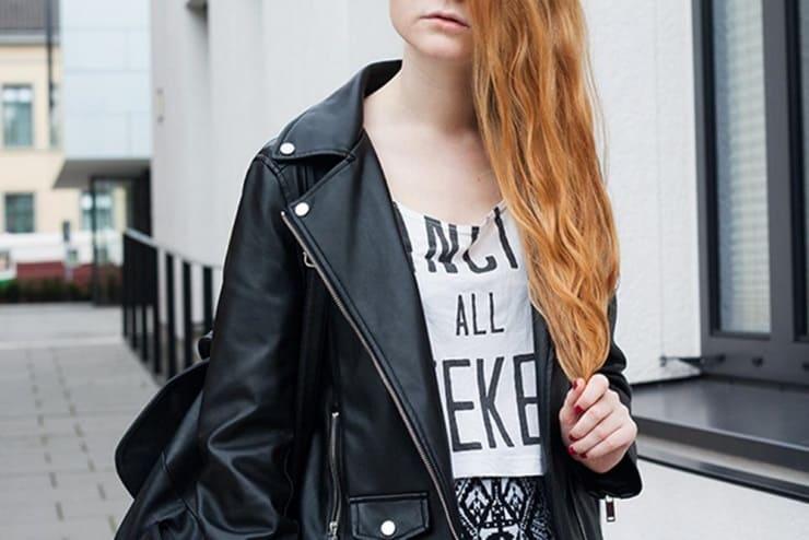 Outfit Highwaist Rock Atzekenmuster Schwarz Weiß