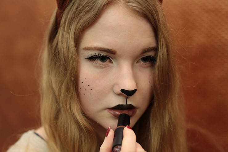 Fuchs Kostüm selber machen Make Up Tutorial Karneval Fasching -1