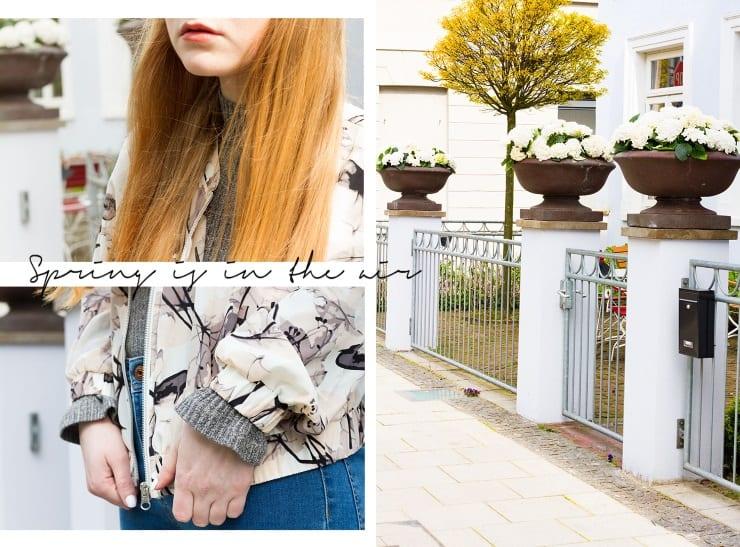 Frühlings Outfit 2017 Modeblog Oldenburg Bomberjacke Blouson Sneaker Frühlingsfarben