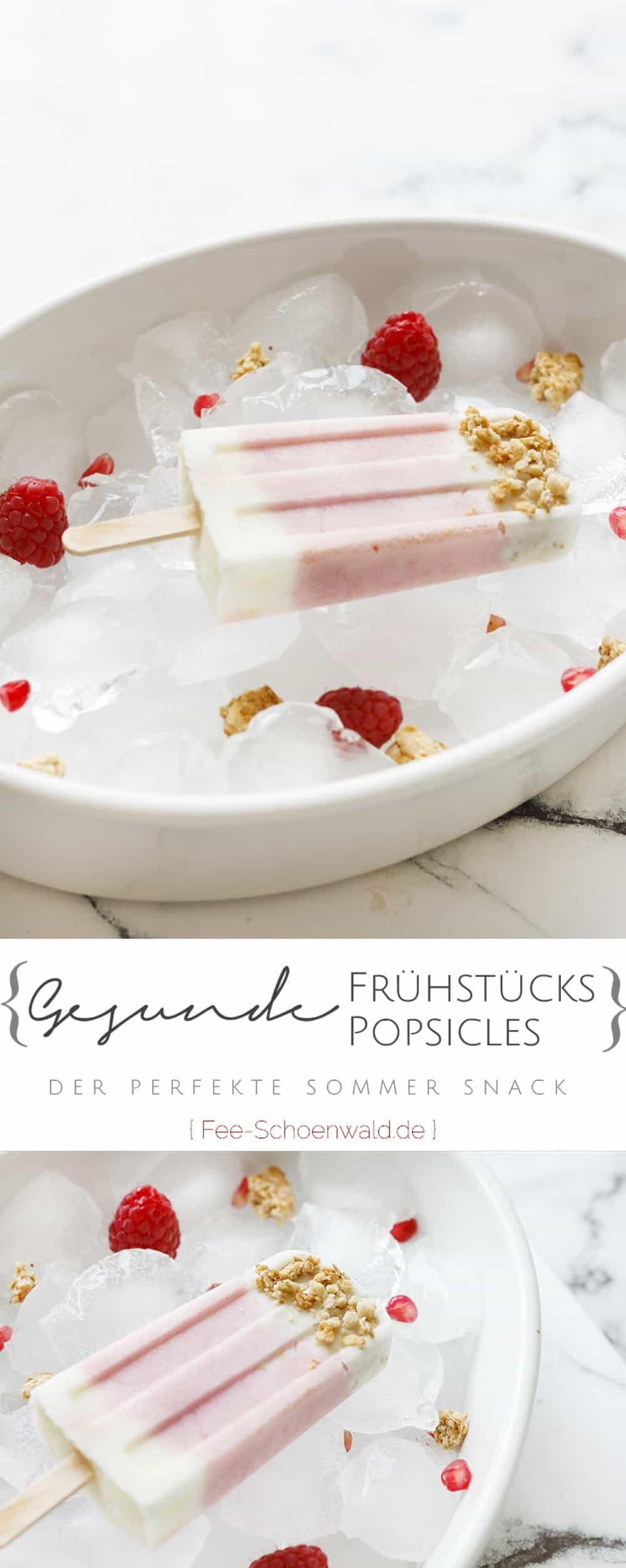 Gesundes Eisrezept Frühstück Popsicles mit Joghurt Beeren und Granola