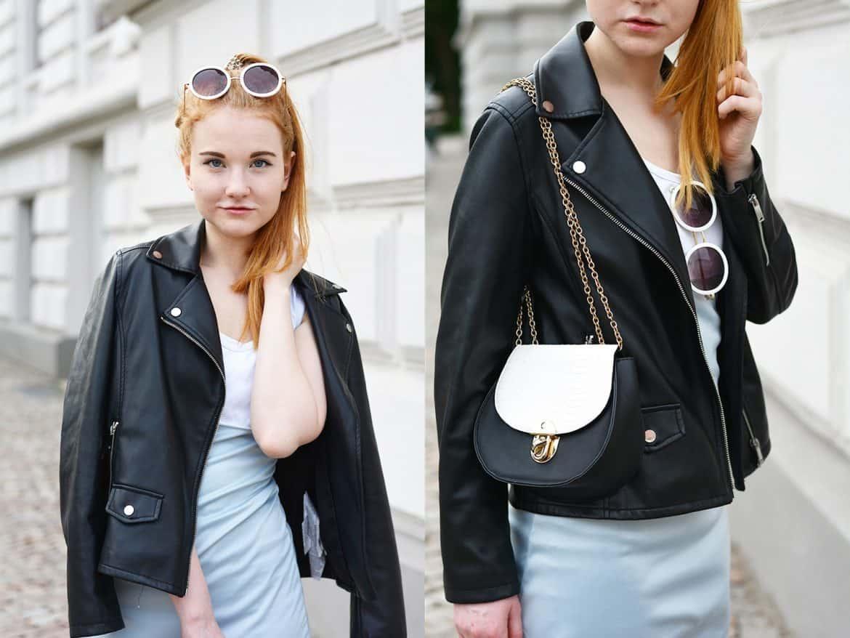 Modeblog Oldenburg Rote Haare hellblaues Kleid Lederjacke runde Sonnenbrille