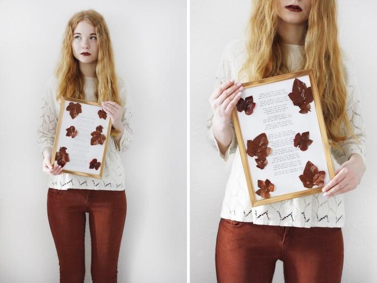 DIY Herbst deko Tutorial Wandbild Kupfer Blätter Laub