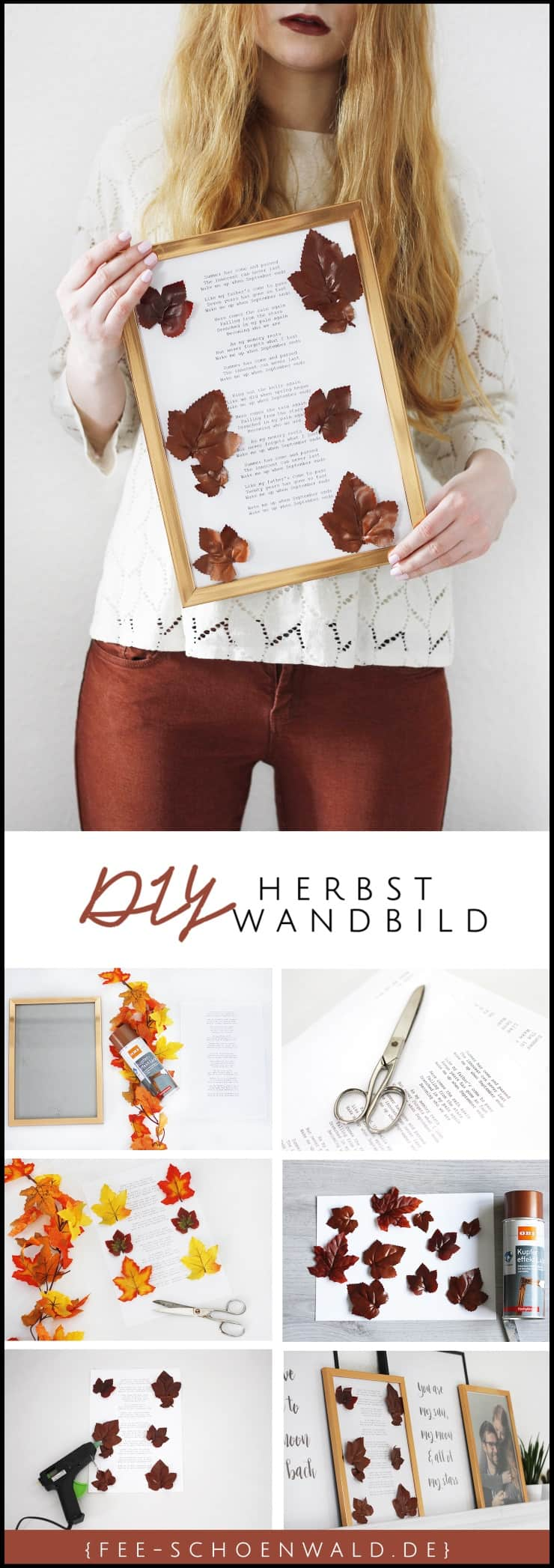 diy herbstdeko wandbild mit bl ttern in kupfer fee schoenwald modeblog aus bremen oldenburg. Black Bedroom Furniture Sets. Home Design Ideas